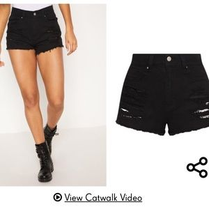 PLT Black Distressed Denim Shorts